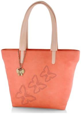Butterflies Brown Faux Leather Handheld Bag