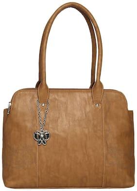 Butterflies Tan Faux Leather Handheld Bag