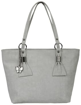 Butterflies Women Solid PU - Tote Bag Grey