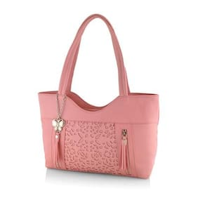 Butterflies Pink Faux Leather Handheld Bag
