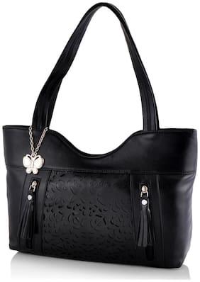 Butterflies Women Black Handbags ( BNS 0588BK )