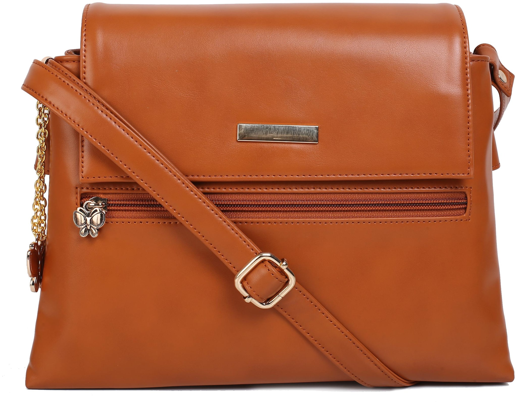Butterflies Tan PU Handheld Bag   Handbag