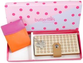 Butterflies Women Beige PU Wallet