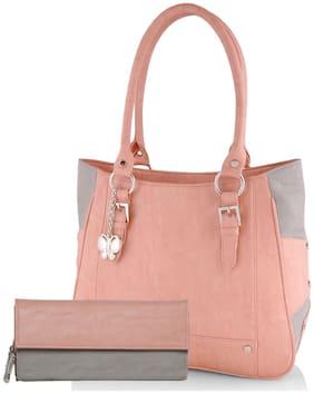 Butterflies Women's Handbag and Wallet Combos (Peach;Grey) (BNS WB0280) (Pack of 2)