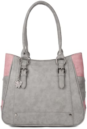 Butterflies Grey PU Handheld Bag - Handbag