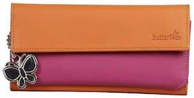 Butterflies Women Orange PU Wallet
