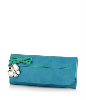 Butterflies Women Green PU Wallet