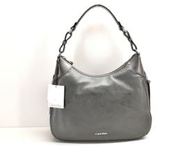 Calvin Klein Angelina Classic Pebble Hobo Handbag Pewter Metallic Leather New!