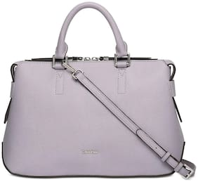 Calvin Klein Maggie Leather Small Satchel Bag (Dusty Lilac/Silver)