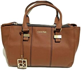 Calvin Klein CAITLIN Double Zipped Chestnut Faux Leather Satchel Bag New With Tg