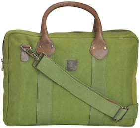 CANVAS & AWL Green Canvas Laptop Backpack