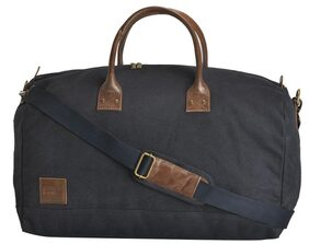 Canvas & Awl Navy Blue Canvas with Genuine Leather Trim Unisex Travel Duffel Bag