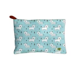 Canvas Printed Multipurpose Travel Zipper Pouch For Girls & Women and Gift Purpose (Animal Print, Blue, Multi)