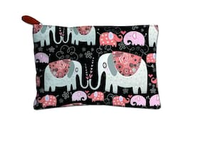 Canvas Printed Multipurpose Travel Zipper Pouch For Girls & Women and Gift Purpose (Elephant Print, Multicolor)
