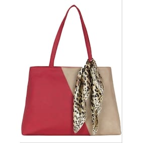 Cappuccino 22035A Red-Beige Handbag (Pack Of 3)