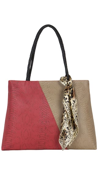 Cappuccino 24103A Red And Toupe Handbag (Pack Of 5)