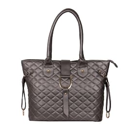 Cappuccino Synthetic Leather Grey Hand Bag (Pack Of 5)