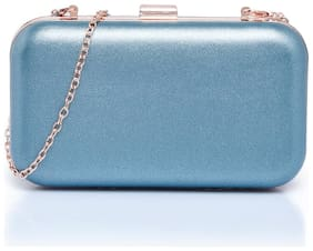 CAPRESE Women Solid Faux Leather - Clutch Blue