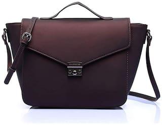 CAPRESE Brown Faux Leather Satchel