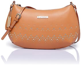 CAPRESE Tan Faux Leather Solid Sling Bag