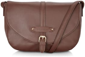 CAPRESE Brown Faux Leather Solid Sling Bag