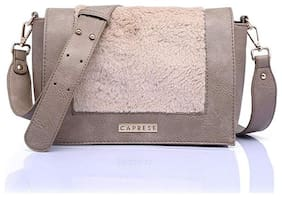 CAPRESE Grey Faux Leather Solid Sling Bag