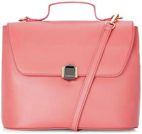 CAPRESE Faux Leather Women Satchel - Pink