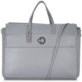 CAPRESE Grey Faux Leather Laptop Messenger Bag