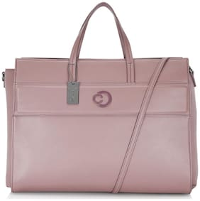 CAPRESE Pink Faux Leather Laptop Messenger Bag