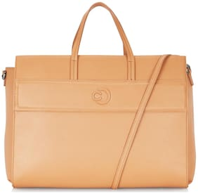 CAPRESE Tan Faux Leather Laptop Messenger Bag