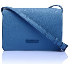 CAPRESE Blue Faux Leather Solid Sling Bag