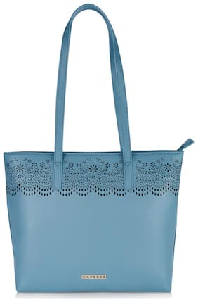 CAPRESE Women Solid Faux Leather - Tote Bag Blue