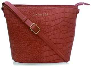 CAPRESE Pink Faux Leather Textured Sling Bag