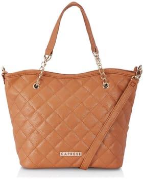 CAPRESE Faux Leather Women Satchel - Tan