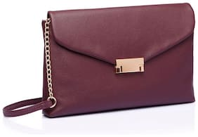 CAPRESE Maroon Faux Leather Solid Sling Bag