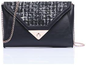CAPRESE Black Faux Leather Solid Sling Bag