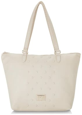 CAPRESE Women Solid Faux Leather - Tote Bag Beige