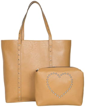 Bagsy Malone Women Solid Faux Leather - Tote Bag Brown