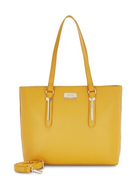 Ceriz Women Solid Synthetic - Tote Bag Yellow