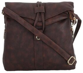 CFI Dark Brown PU Sling Bag For Girls / Women