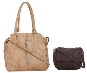CFI Girls Beige Handbag and Dark Brown Sling Bag Combo