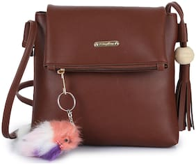 Craveforit Brown PU Solid Sling Bag