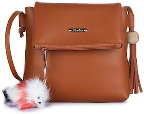 Craveforit Tan PU Solid Sling Bag