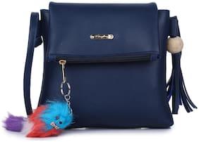 Craveforit Blue PU Solid Sling Bag