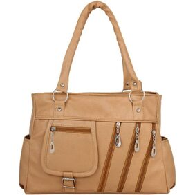 CHHAVI INDIA TAN PU SHOULDER HANDBAG (CI76)