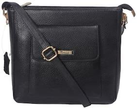 CHIMERA Black Genuine Leather Solid Sling Bag