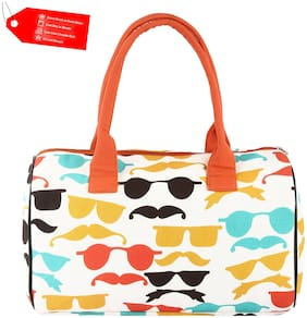 College & School Girls and Womens Eco-Friendly Handmade Signature Graphic Design in Multi Color Printed Indian Pure Cotton Large Duffel Bag/Purse