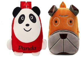 Combo of Kids School Bags Panda Red and Dog