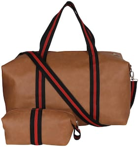 combo set of Duffel Bag with pouch (Brown)