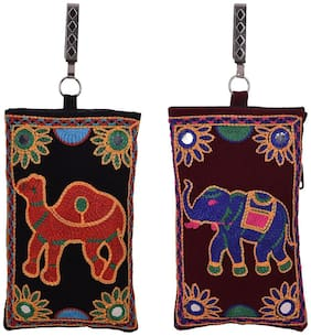 Craft Trade Fabric Embroidered Work Velcro Multicolor Mobile Pouch  (10 X 3 X 17)